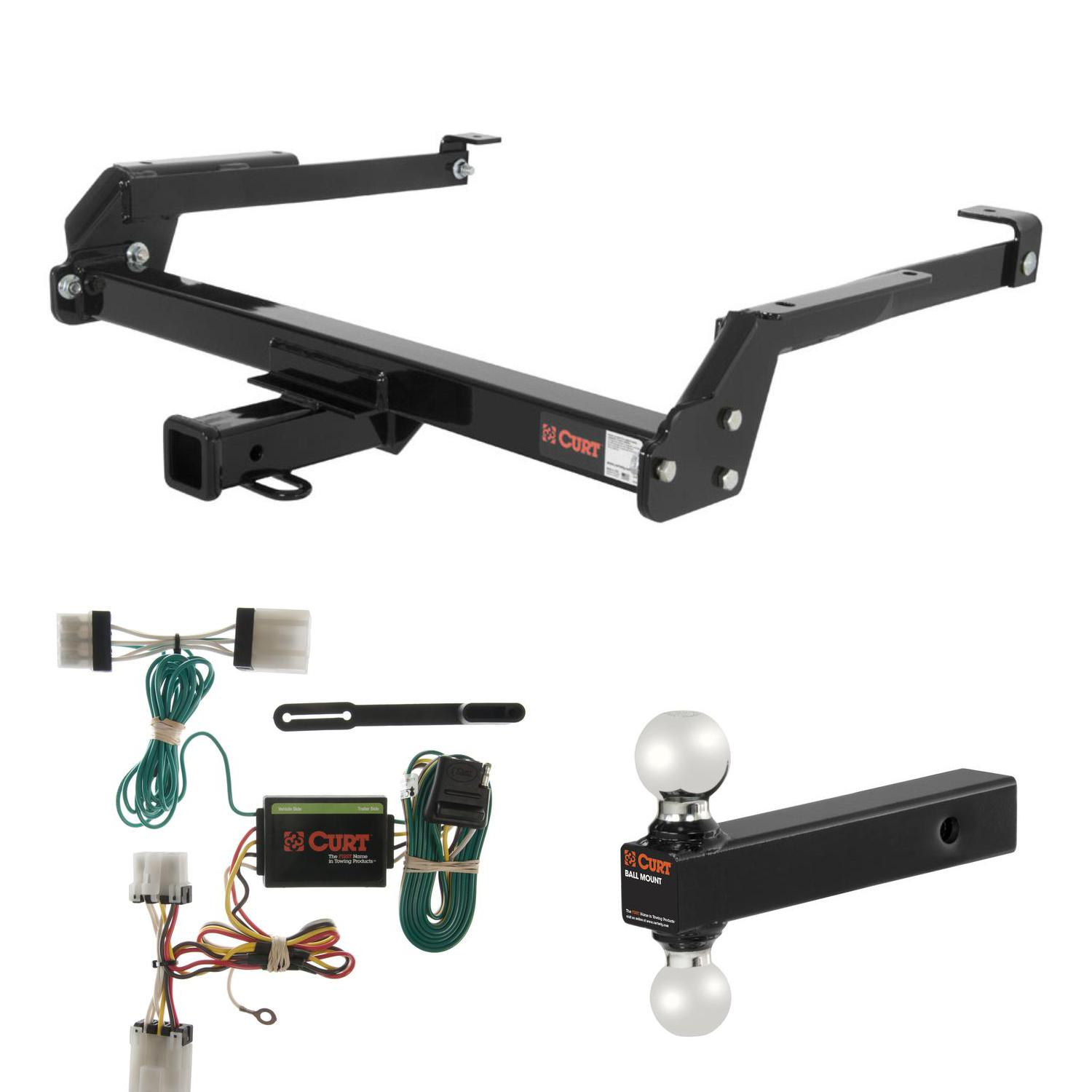 CURT Trailer Hitch, Wiring & Multi-Ball Ball Mount for Nissan D21, Pickup