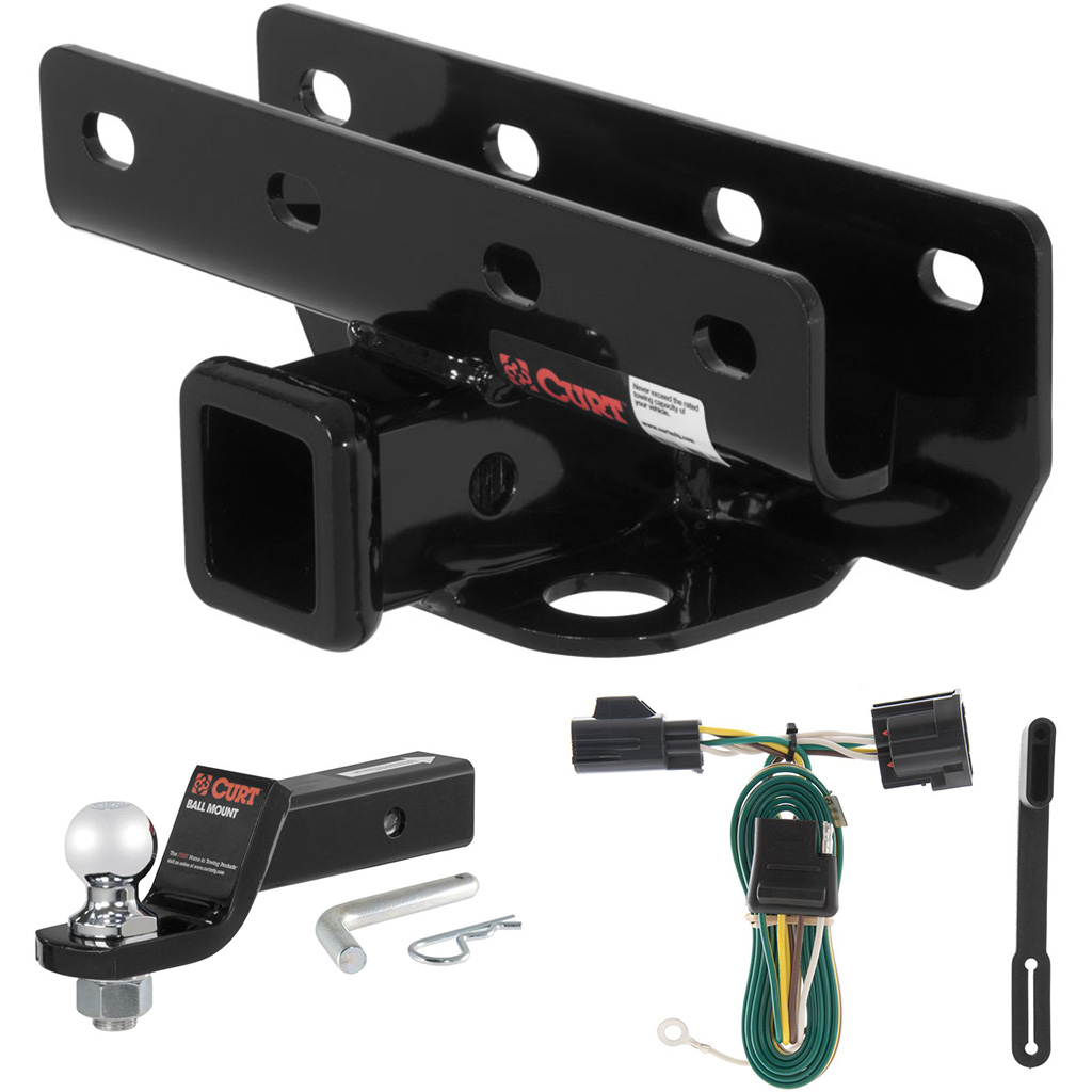 curt class 3 trailer hitch tow package with 2 u0026quot  ball for